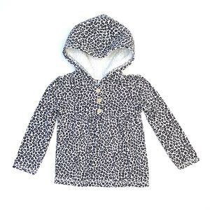 Carter's Leopard Fur Button Up Hoodie Sweater | 3T